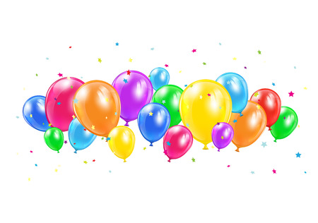 Colored balloons and flying isolated on white background, illustration