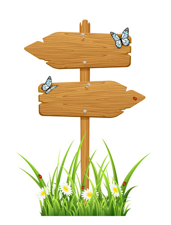 arrow wood: Isolated double wooden sign with butterfly and ladybugs, illustration  Illustration