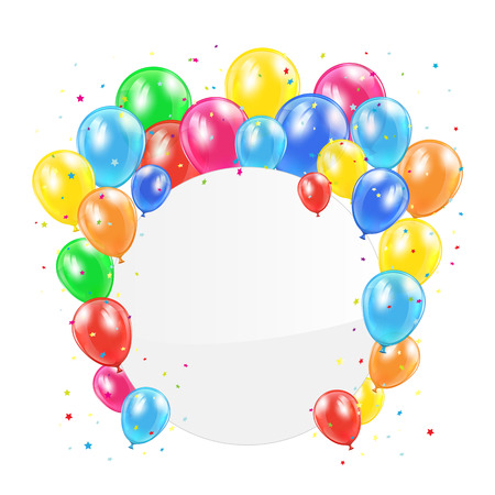 ballons: Colored balloons with circle card and confetti isolated on white background