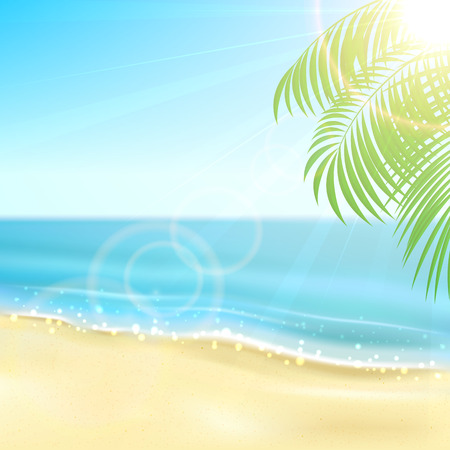 summer season: Tropical with sandy beach, sparkling ocean and palm leaves, illustration
