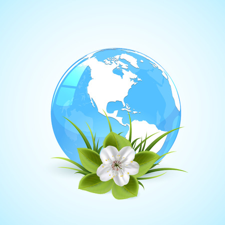 Blue globe in grass with flower and grass, illustration Vector