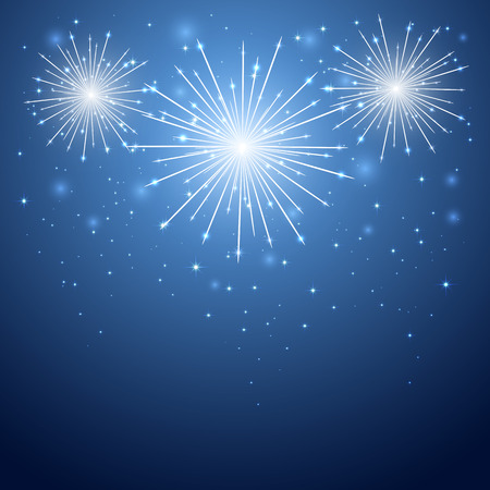 Shiny firework in the blue sky, illustration