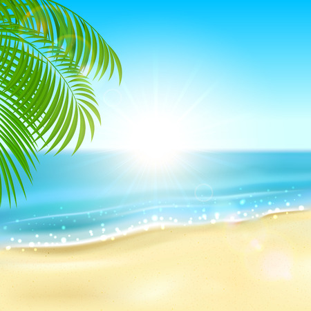 Sunny background with sandy beach and sparkling ocean illustration  Illustration