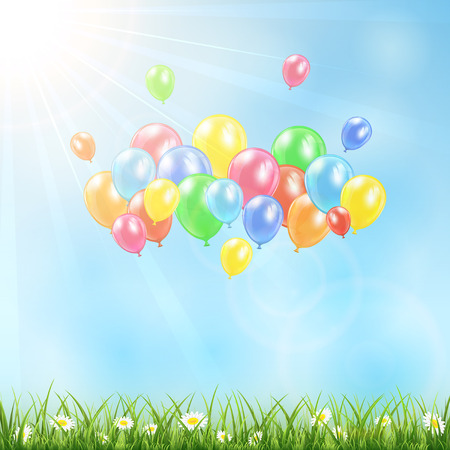 inflating: Nature background with flying colored balloons illustration