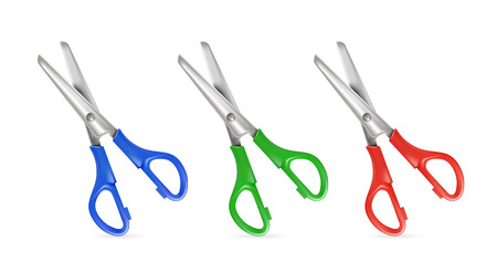 simple cross section: Set of scissors isolated on white background illustration Illustration