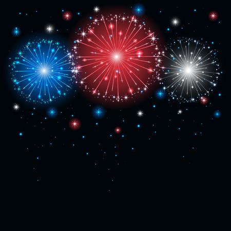 blanco: Fuegos artificiales tricolor brillante en el cielo oscuro, ilustración Vectores