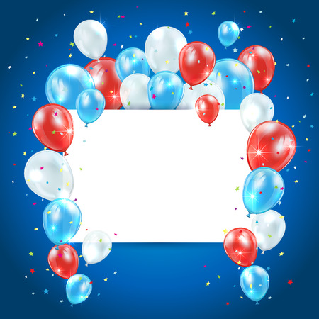 ballons: Independence day background with colored balloons and card, illustration