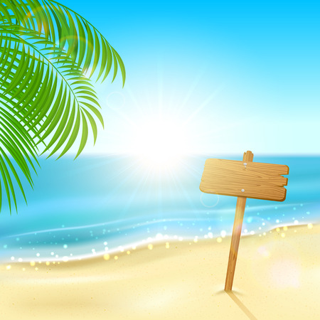 Tropical background with sparkling ocean and wooden sign, illustration  Vector