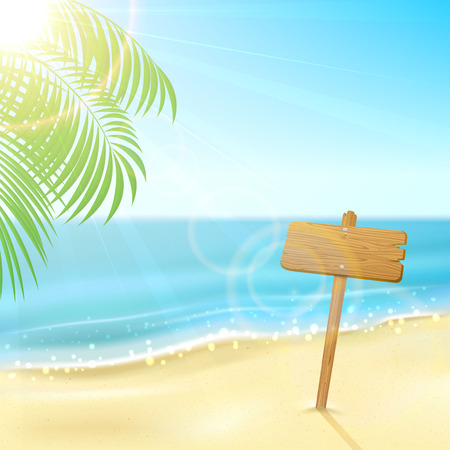Tropical background with wooden sign on sandy beach, illustration  Illustration
