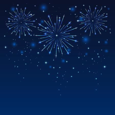 celebra: Fuego artificial brillante en el cielo azul oscuro, ilustración