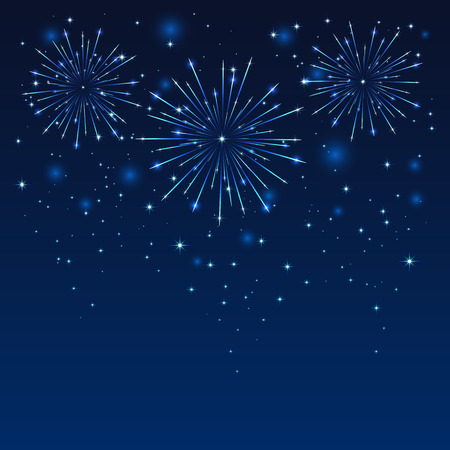 christmas in july: Shiny firework on the dark blue sky, illustration