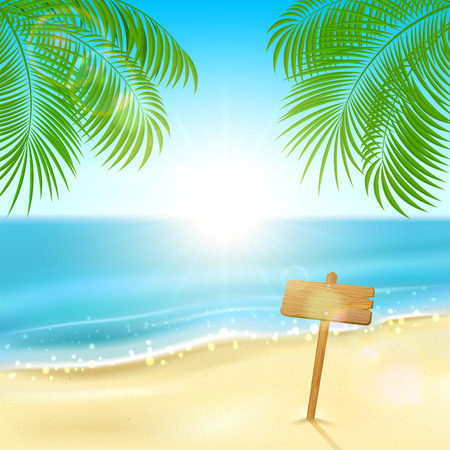 Tropical background with palm leaves and wooden sign on sandy beach, illustration  Illustration