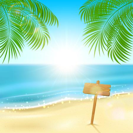 Tropical Hintergrund mit Palmblättern und Holzschild am Sandstrand, Abbildung Standard-Bild - 27910929