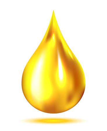 gota: Gota del petróleo aislado en el fondo blanco, ilustración Vectores