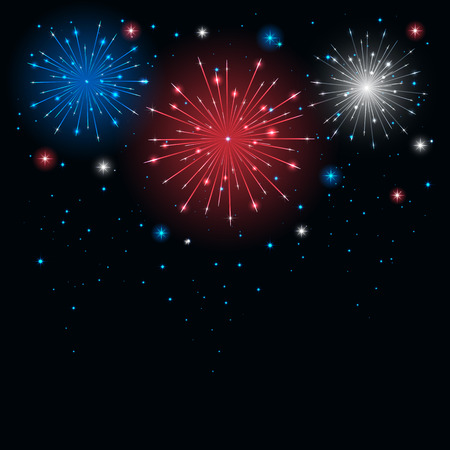 Shiny tricolor firework in the sky, illustration