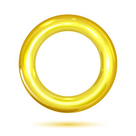 Anillo de oro aislado en el fondo blanco, ilustración Ilustración de vector