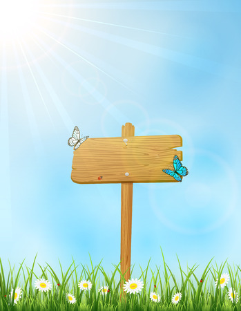 wood board: Background with wooden sign in grass and butterflies, illustration