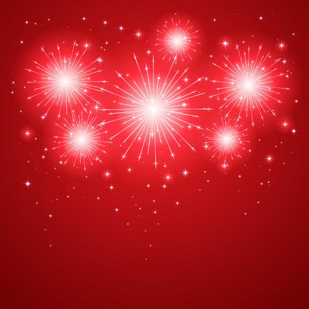 fireworks background: Shiny firework with stars on red background, illustration