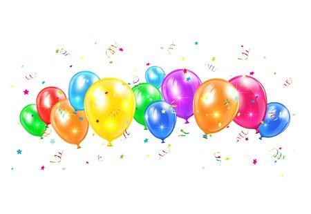 horizontální: Barevné balónky a pozlátko létání na bílém pozadí, ilustrace