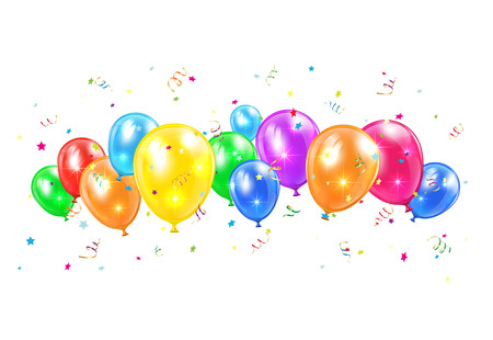 Colored balloons and tinsel flying isolated on white background, illustration  Illustration
