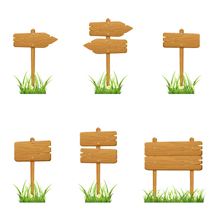 arrow wood: Set of wooden signs in a grass isolated on white background, illustration