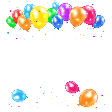 colored balloons: Holiday balloons and confetti isolated on white background, illustration