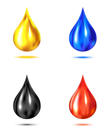 Set of drops isolated on white background, illustration  Vector