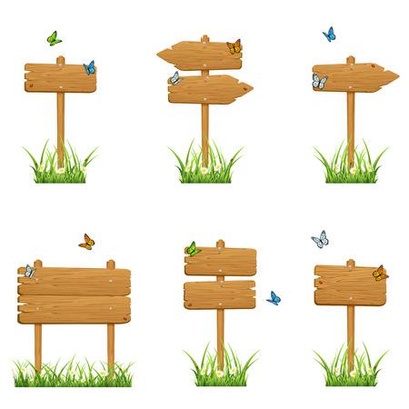 mariquitas: Conjunto de signos de madera en una hierba con mariposas aisladas sobre fondo blanco, ilustración