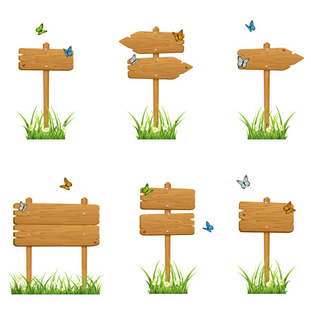 Set of wooden signs in a grass with butterflies isolated on white background, illustration  Illustration