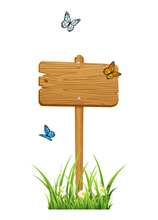 stick bug: Wooden sign in a grass with butterflies isolated on white background, illustration