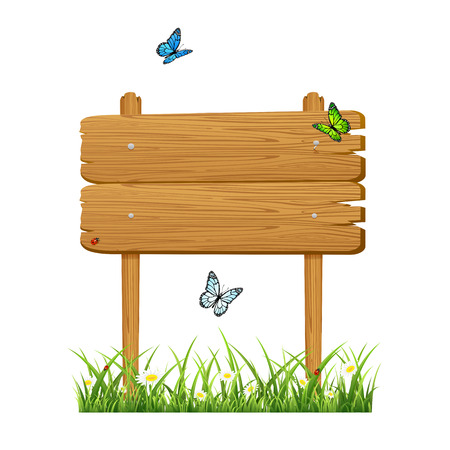 stick bug: Wooden banner in a grass with butterflies isolated on white background, illustration