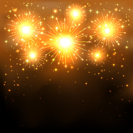 Shiny golden firework with stars on dark background, illustration  Vector
