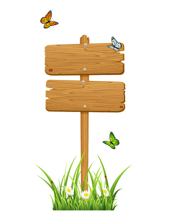 stick bug: Double wooden sign in a grass with butterflies isolated on white background, illustration  Illustration