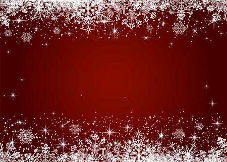 図の赤い背景に雪の結晶からクリスマス フレーム  イラスト・ベクター素材