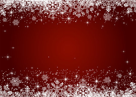 Christmas frame from snowflakes on red background, illustration