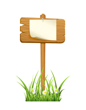 Wooden sign in grass with paper isolated on white background, illustration  Vector