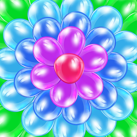 inflating: Holiday background with colorful balloons in the form of flower, illustration  Illustration