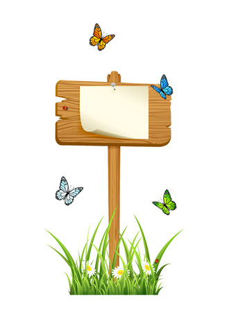hobnail: Wooden sign in grass with paper and butterflies isolated on white background, illustration
