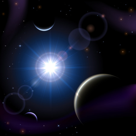 cosmic rays: Blue space background with planet and shining sun, illustration