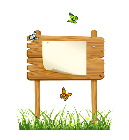 Wooden banner in grass with paper and butterflies isolated on white background, illustration  Vector