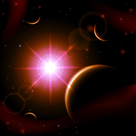sun illustration: Purple space background with planet and shining sun, illustration