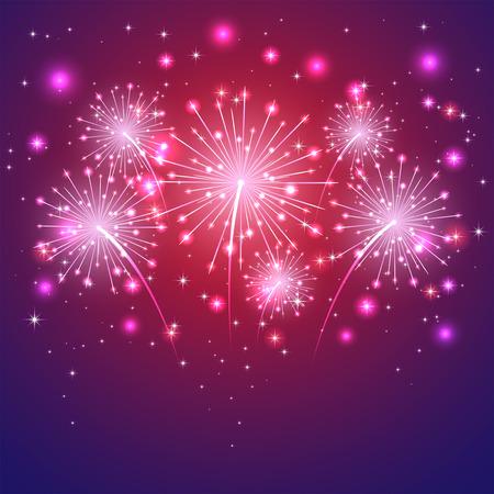 Shiny firework with stars on violet background, illustration