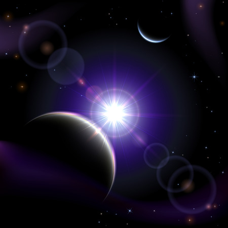 sun illustration: Violet space background with planet and shining sun, illustration
