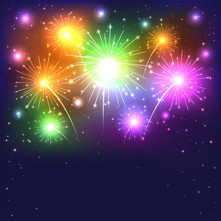 Sparkle colorful firework on dark background, illustration Vector Illustration