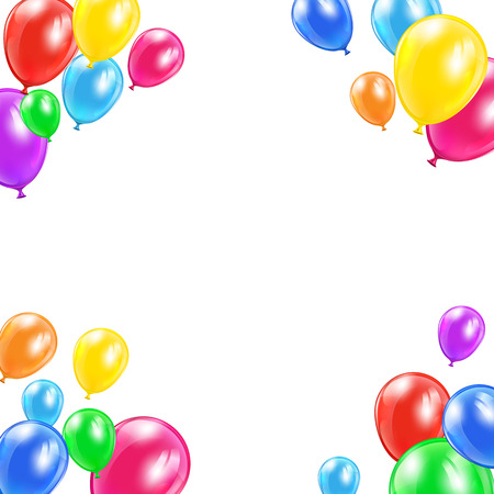 Holiday balloons in corners on white background, illustration  Vector