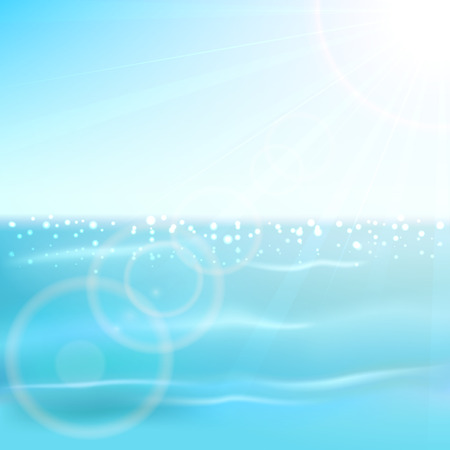sun illustration: Blue sparkle ocean and shining Sun, illustration  Illustration