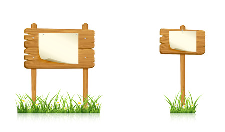 hobnail: Two wooden banners in grass with paper isolated on white background, illustration