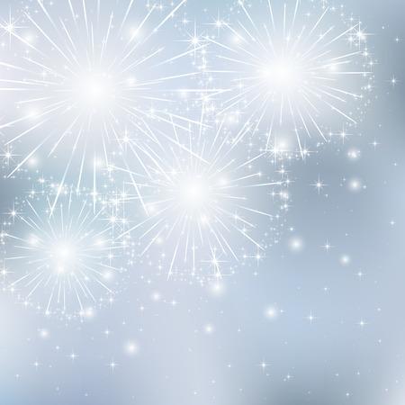 灰色の背景、イラストに輝き花火セット