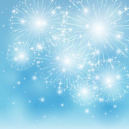 Set of sparkle firework on blue background, illustration