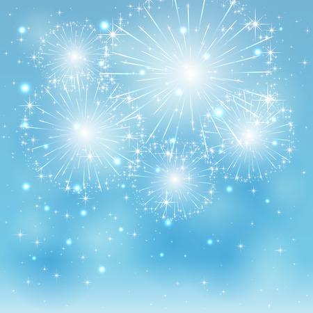 Set of sparkle fireworks on blue background, illustration